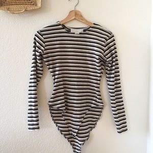 The Limited Cotton Striped Body Suit Long Sleeve